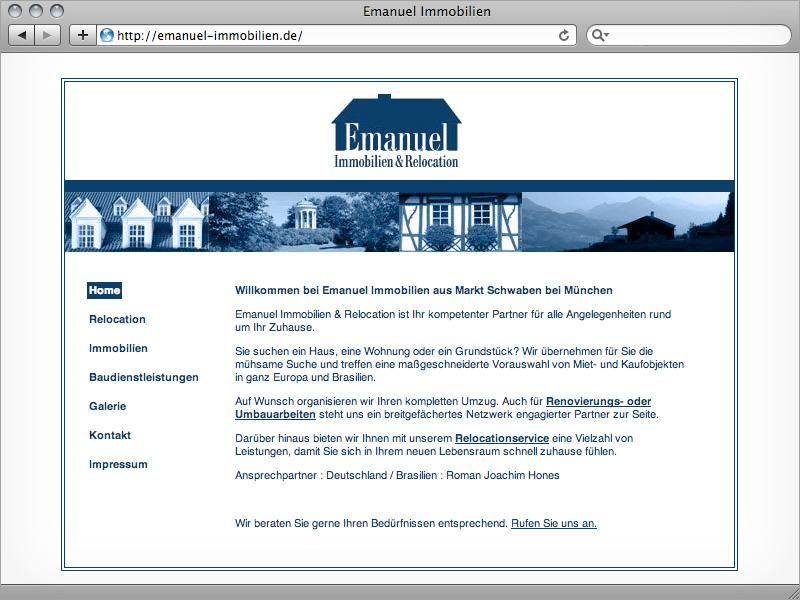 Konzeption, Text & Webdesign Emanuel Immobilien