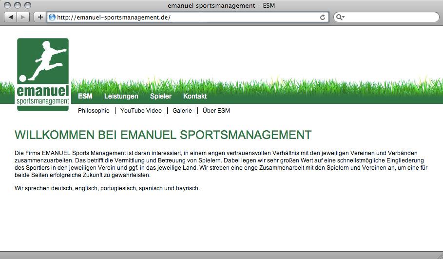 Referenz von su-pr-design: Webdesign für Emanuel Sportsmanagement