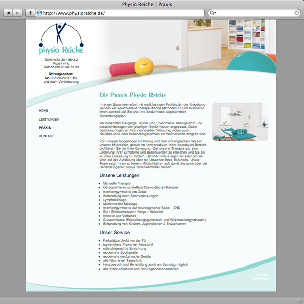 Webdesign Physiotherapie Physio Reiche Homepage