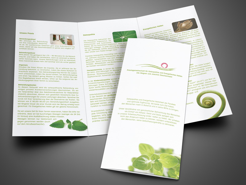 Gestaltung Flyer Info-Folder Osteopathie Mainzcity – Referenz von su-pr-design