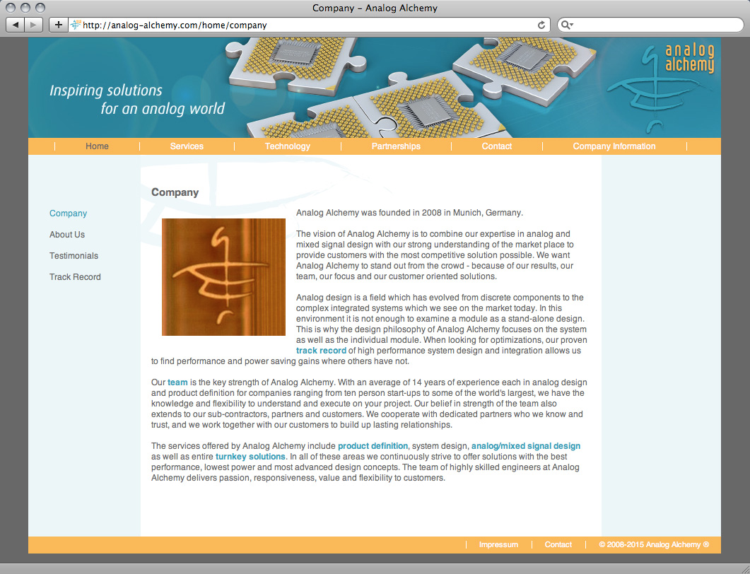Referenz von su-pr-design: analog alchemy – Webdesign, Gestaltung und Umsetzung des Internetaufritts