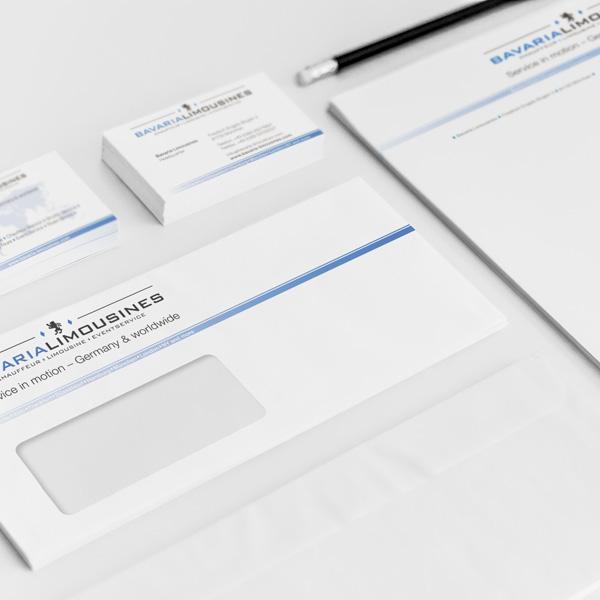 Referenz von su-pr-design: Bavaria Limousines – Gestaltung und Druck von Visitenkarten, Briefpapier und Kuverts