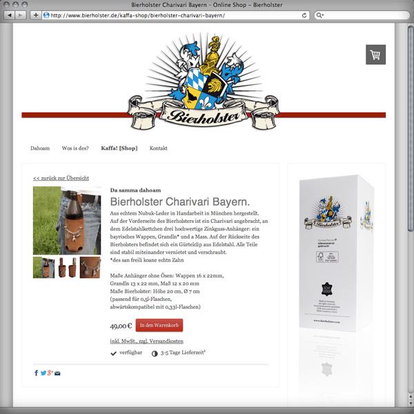 Referenz von su-pr-design: Bierholster – responsive Webdesign Online-Shop