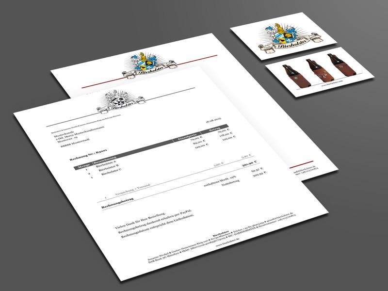 Referenz von su-pr-design: Bierholster – Gestaltung und Druck von Visitenkarten und Briefpapier, Erstellung digitale Rechnungsvorlage