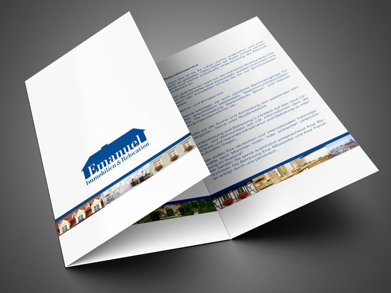 Referenz von su-pr-design: Emanuel Immobilien – Konzept, Text, Gestaltung und Druck von Folder