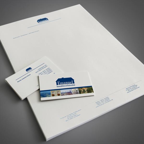 Referenz von su-pr-design: Emanuel Immobilien – Gestaltung und Druck von Visitenkarten und Briefpapier