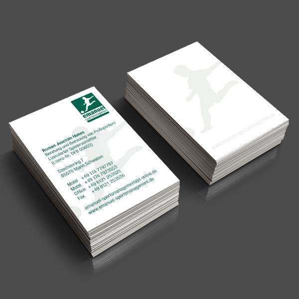 Referenz von su-pr-design: Emanuel Sports Management – Gestaltung und Druck von Visitenkarten