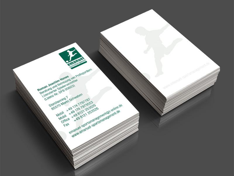 Gestaltung und Druck von Visitenkarten für Emanuel Sportsmanagement – Referenz von su-pr-design