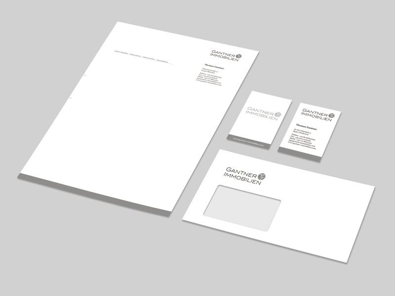 Corporate Design, Gestaltung und Druck Geschäfspapiere, Erstellung Wordvorlage für Gantner Immobilien – Referenz von su-pr-design
