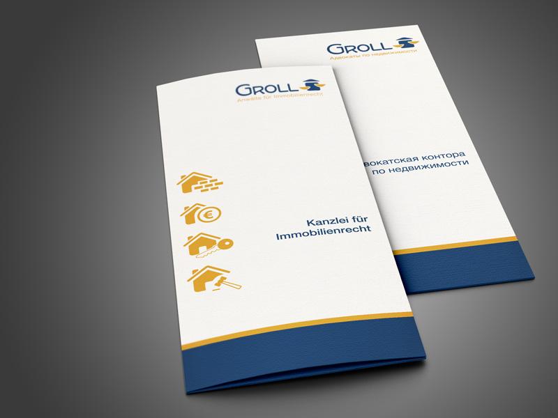 Referenz von su-pr-design: Groll Anwälte für Immobilienrecht – Gestaltung von Folder deutsch und russisch