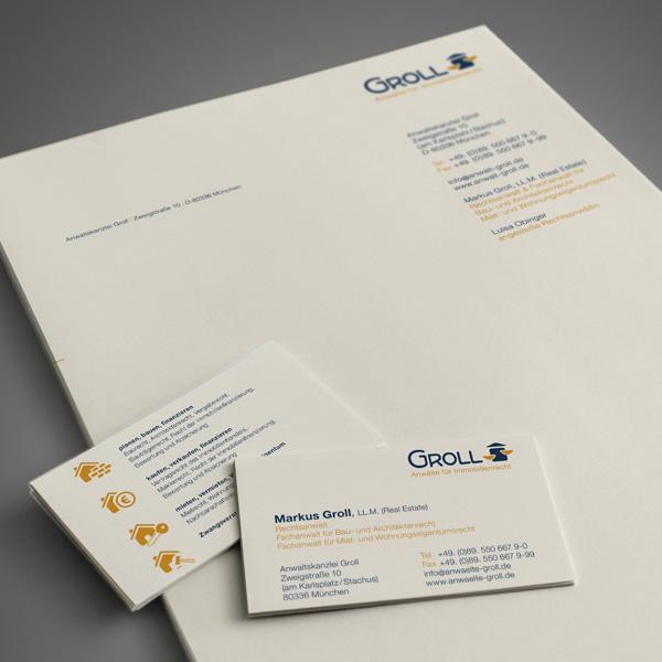 Referenz von su-pr-design: Groll Anwälte für Immobilienrecht – Gestaltung von Visitenkarten und Briefpapier