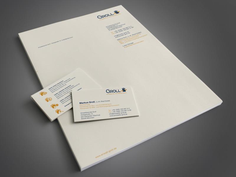 Gestaltung von Visitenkarten und Briefpapier für RA Groll Anwalt für Immobilienrecht – Referenz von su-pr-design
