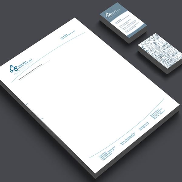 Gestaltung und Druck von Geschäftspapieren, Visitenkarten, Briefpapier für logic-wire – Referenz von su-pr-design