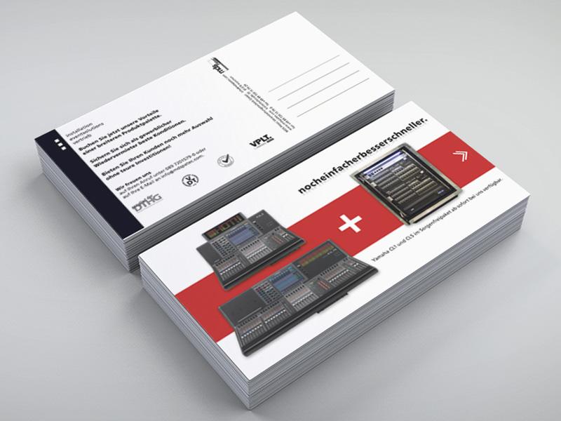 Gestaltung von Postkarten für Mailing für MDS PAtec Veranstaltungstechnik – Referenz von su-pr-design