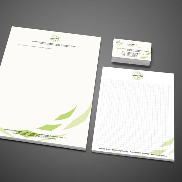 Gestaltung Geschäftspapiere, Erstellung Wordvorlage Briefpapier, Geschäftspapiere für MindTEC – Referenz von su-pr-design