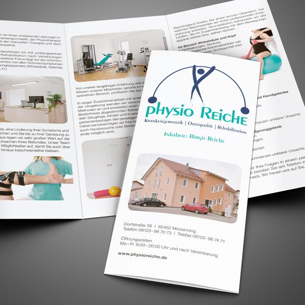 Gestaltung und Druck von Info-Folder, Beratung, Text für Physio Reiche – Referenz von su-pr-design