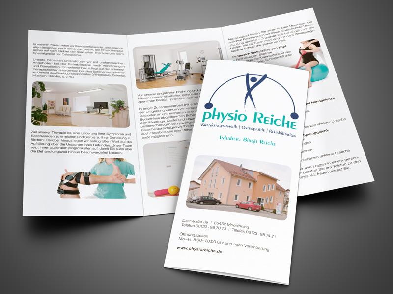 Gestaltung und Druck von Info-Folder, Beratung, Text Physiotherapie Praxis Physio Reiche – Referenz von su-pr-design