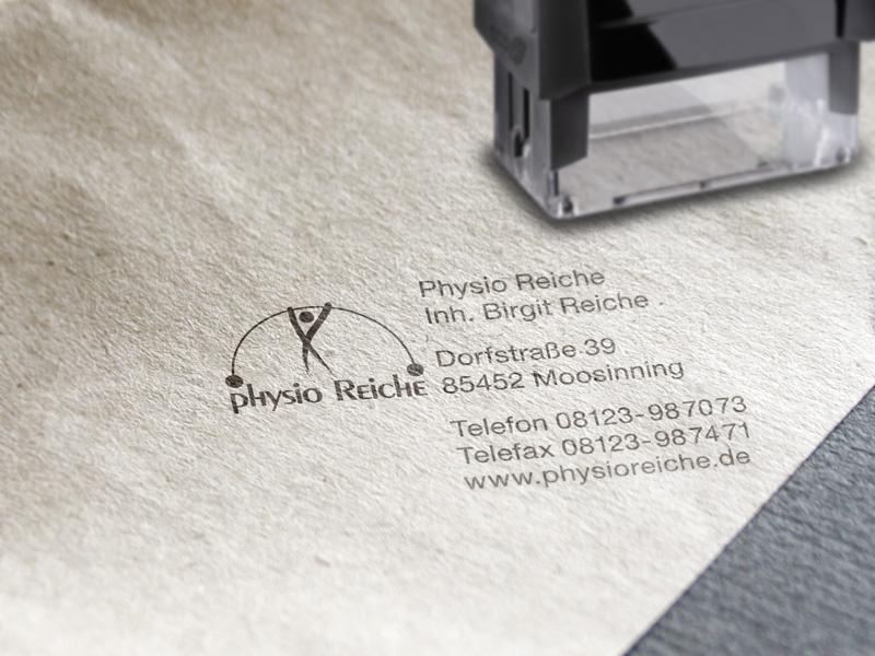 Gestaltung und Produktion von Stempel für Physiotherapie Physio Reiche – Referenz von su-pr-design