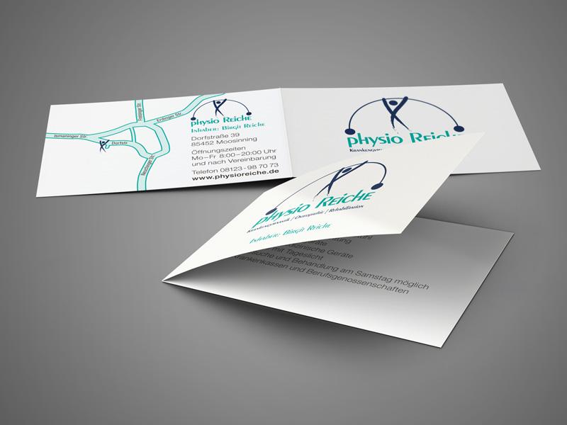 Grafikdesign, Gestaltung und Druck von Visitenkarten Klappkarten Physiotherapie Praxis Physio Reiche – Referenz von su-pr-design
