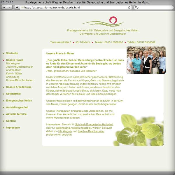Referenz von su-pr-design: Webdesign Osteopathie Mainzcity
