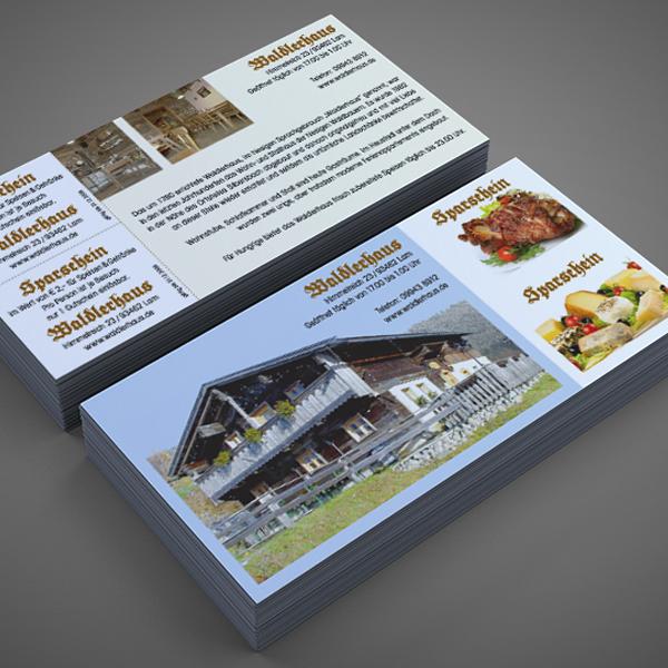 Referenz von su-pr-design: Waldlerhaus Lam – Gestaltung und Druck der Flyer/Gutschein