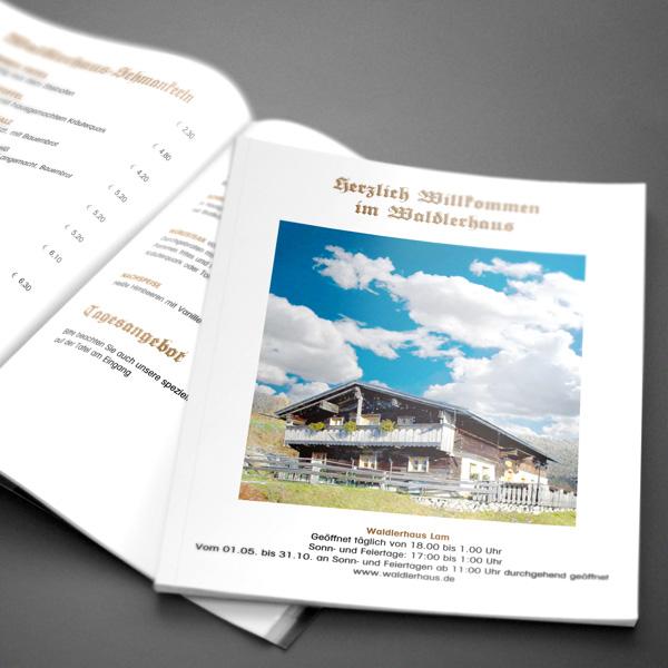 Referenz von su-pr-design: Waldlerhaus Lam – Gestaltung von Wordvorlage der Speisekarte