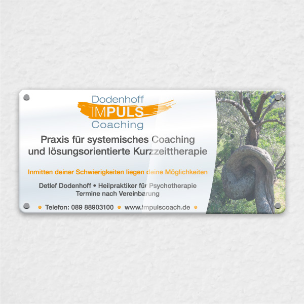 Gestaltung Praxis-Schild aus Acryl Impuls Coaching